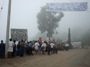 Arriving in Acteal, check out banner at top