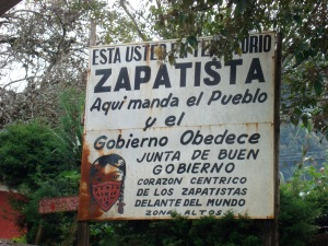 Sign posted on road to Caracol